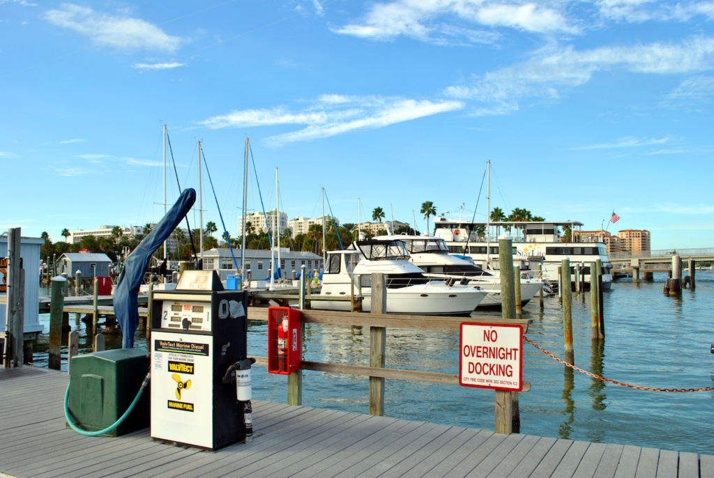 Clearwater Beach, Florida, USA - November 10, 2013: Boat refueling station in Clearwater Beach harbour