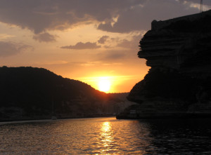 Entering Bonifacio, Corsica at dawn