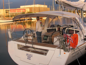 Jopie-inspecting-the-new-Beneteau-48